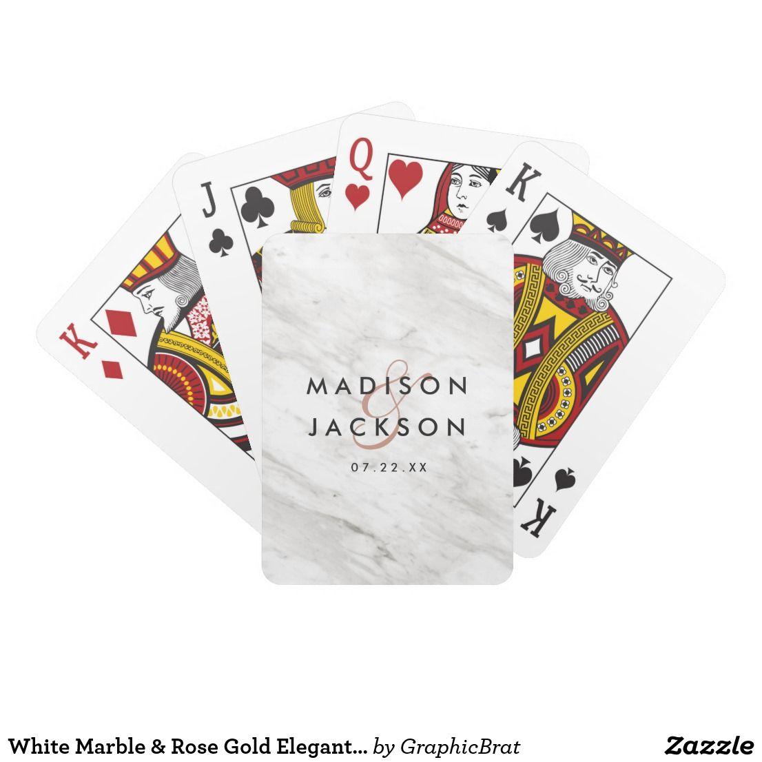 White Marble & Rose Gold Elegant Wedding Favor Playing Cards ...