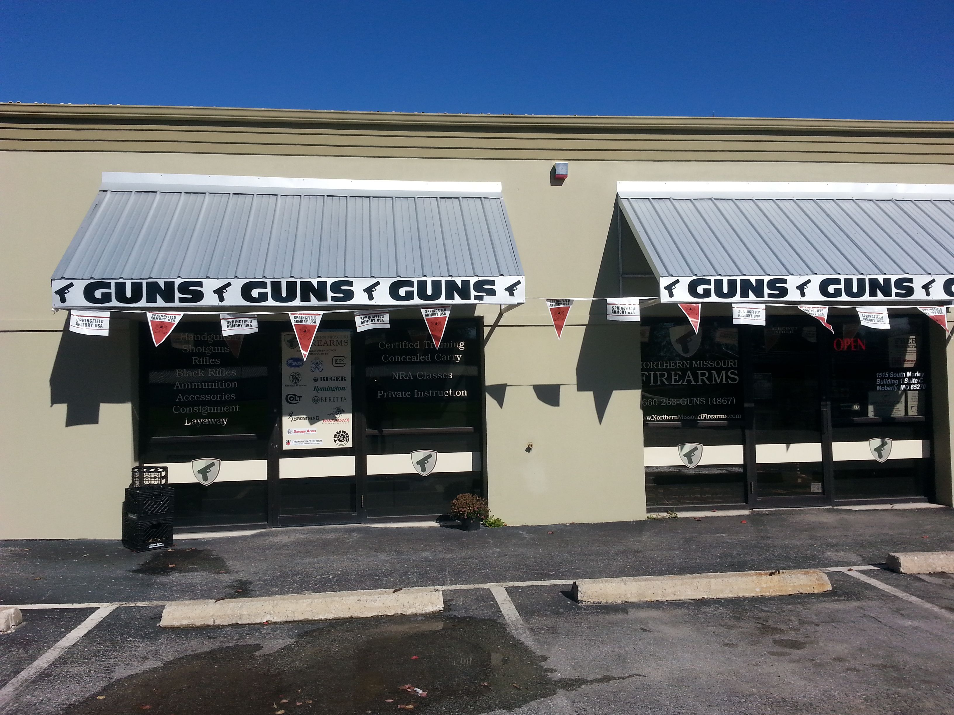 New awnings! Check us out on Facebook. NorthernMissouriFirearms for all our inventory!