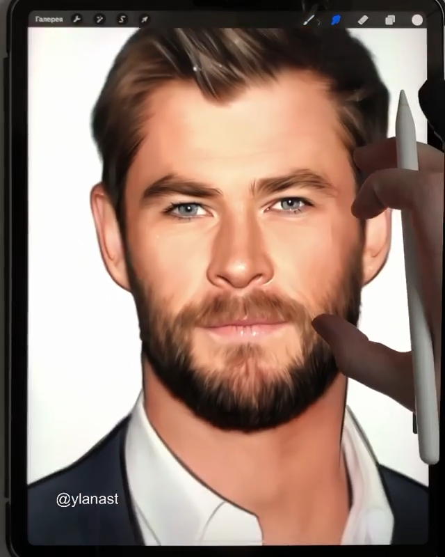 , Chris Hemsworth Painted in Digital Art, My cartoon Blog, My cartoon Blog