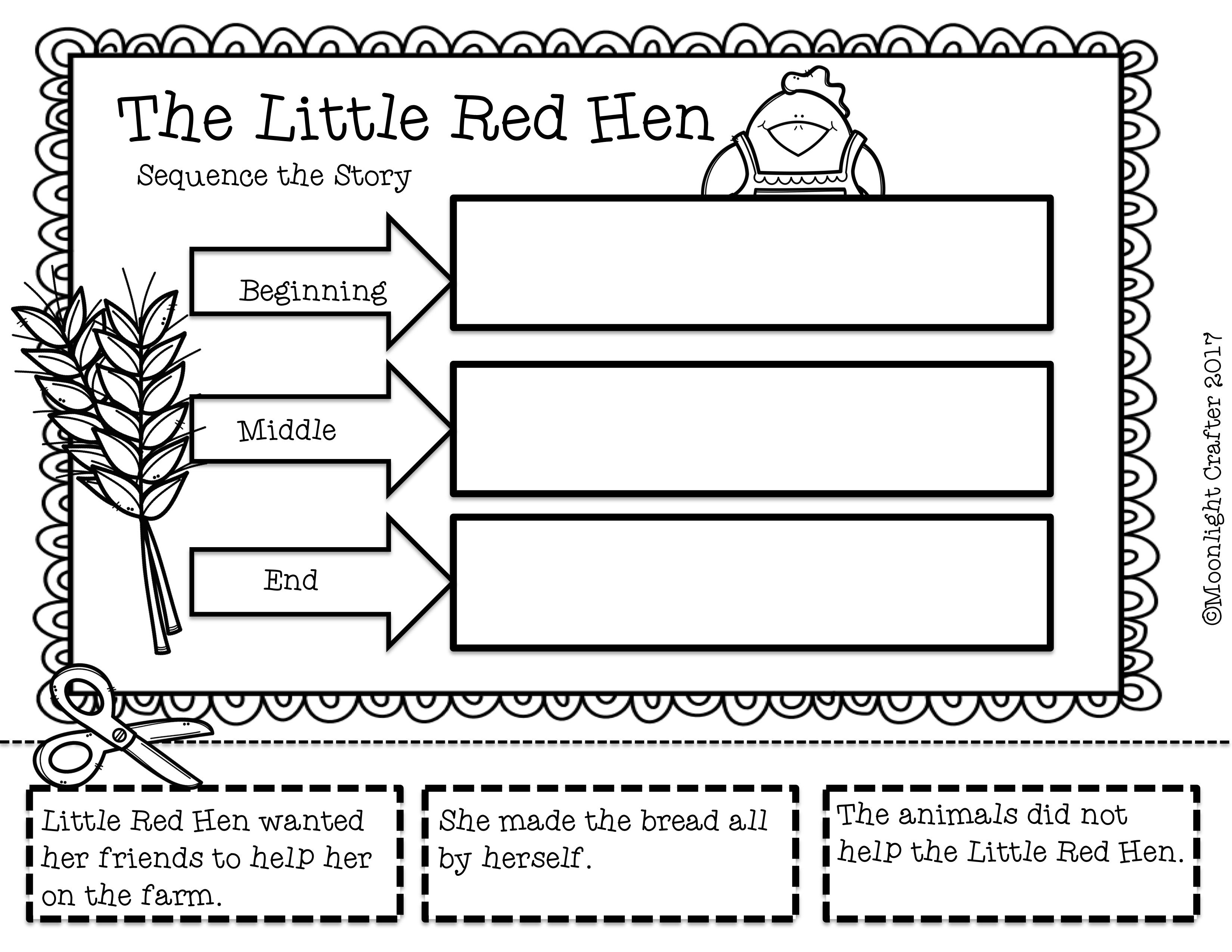 The Classic Story Of The Little Red Hen Sequencing Printable