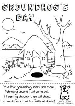 Groundhog\'s Day Coloring Sheet. Cut out the groundhog puppet and ...