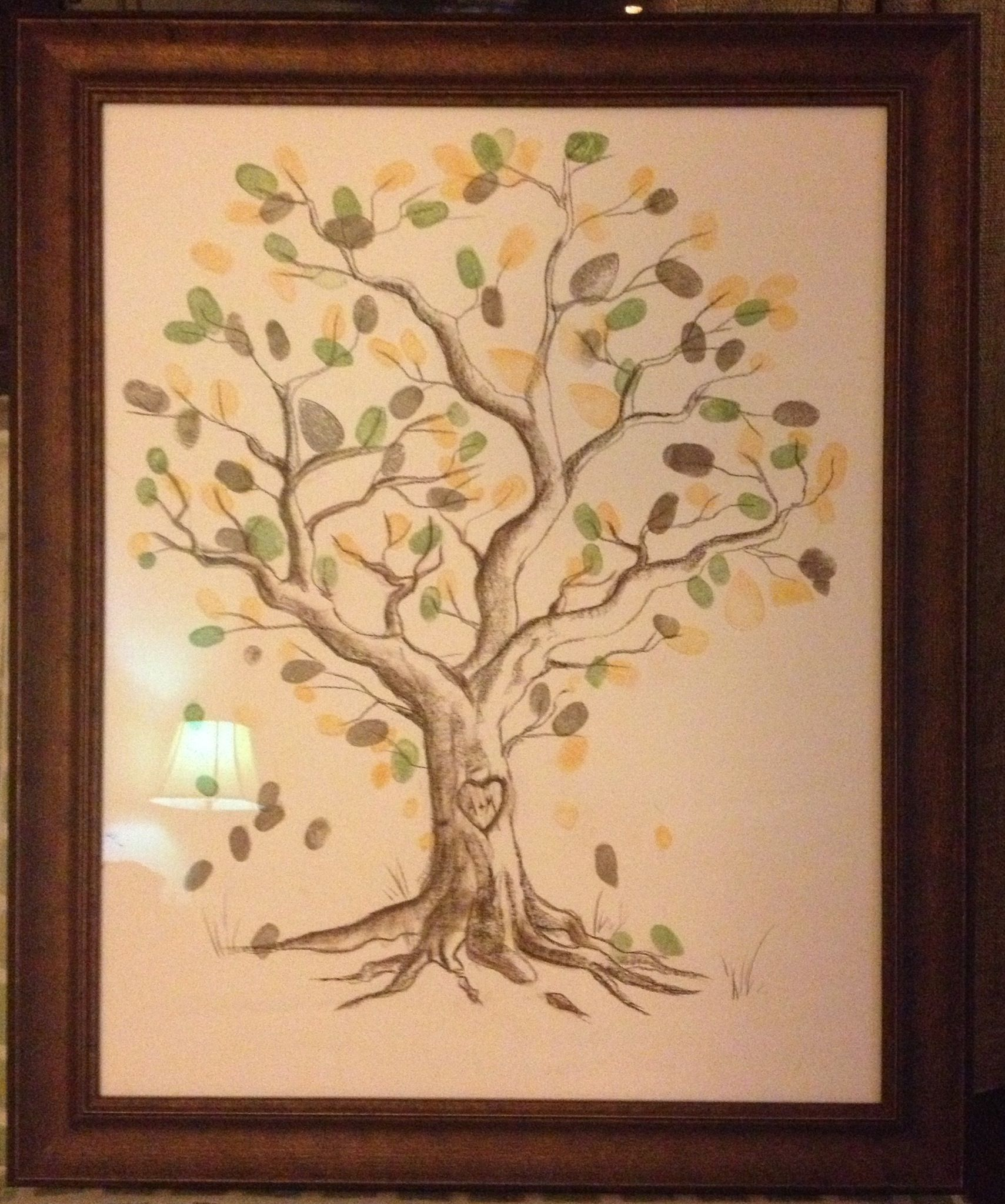 Framed (drawn by a friend) guest thumbprint tree from our wedding ...