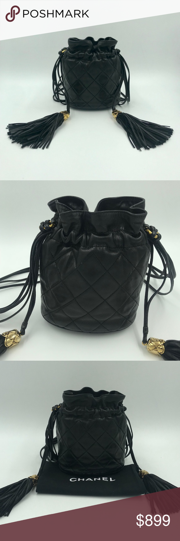 cf9d9d7ffb1d34 Authentic Vintage CHANEL Mini Tassel Bucket Bag This is an authentic CHANEL  Mini Tassel Bucket Bag