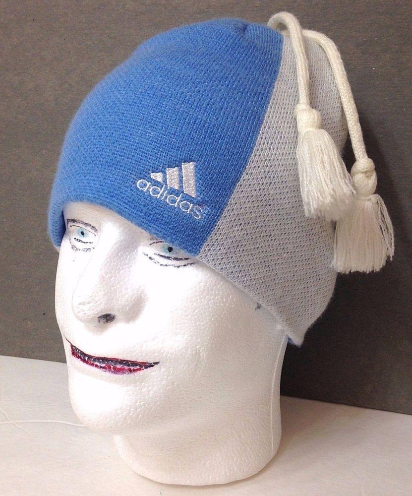 dba6475e8253c unique ADIDAS®TASSEL BEANIE Skull-Cap Winter Knit Ski Light-Blue White  Women Men  adidas  Beanie