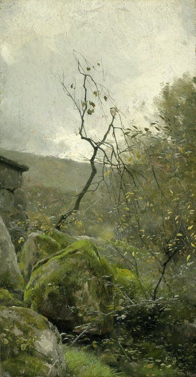 Attributed to Peder Mônsted (1859-1941) - Landscape with rocks, oil on panel