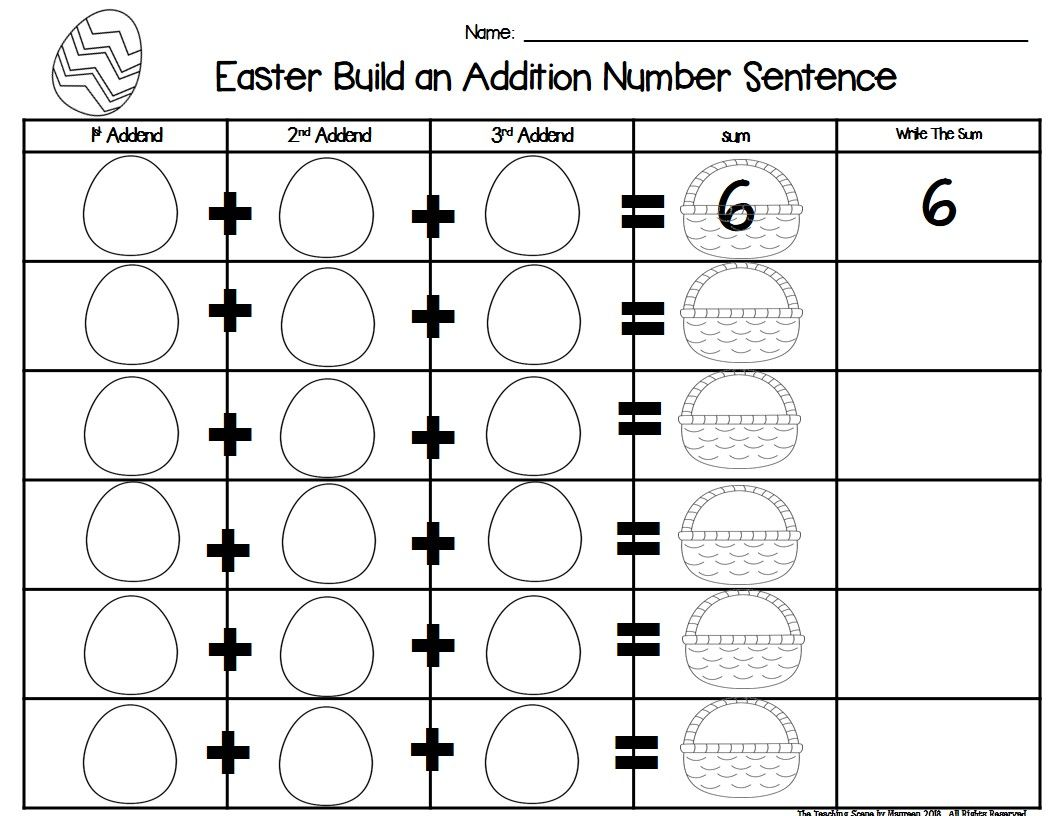 Easter Build 3 Addend Addition Amp Subtraction Number