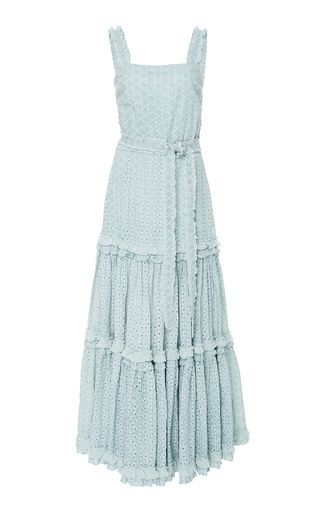 6fc866720e2292 Designed with warmer climates in mind, Alexis' 'Milada' maxi dress is made  from powder blue broderie anglaise cotton with a tiered, billowy shape.