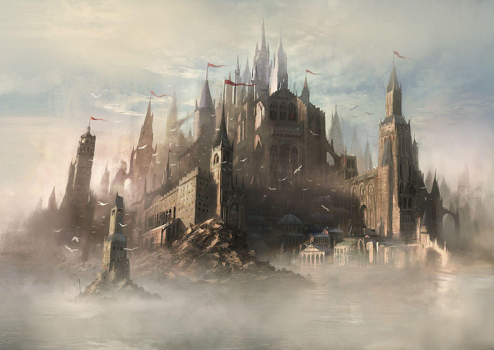landscapes castles fantasy art - photo #36