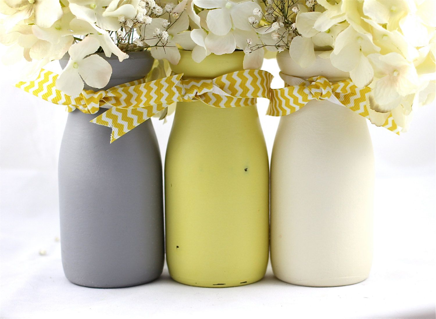 Yellow And Gray Baby Shower Decorations Centerpiece Painted Milk Bottles  Vases Nursery Ribbon Hostess Gifts Mason