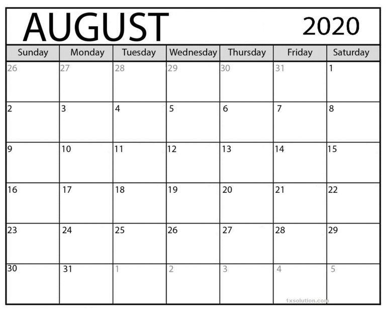 Free Printable August 2020 Calendar Excel Sheet Calendar In 2020 August Calendar Calendar Word Calendar Printables