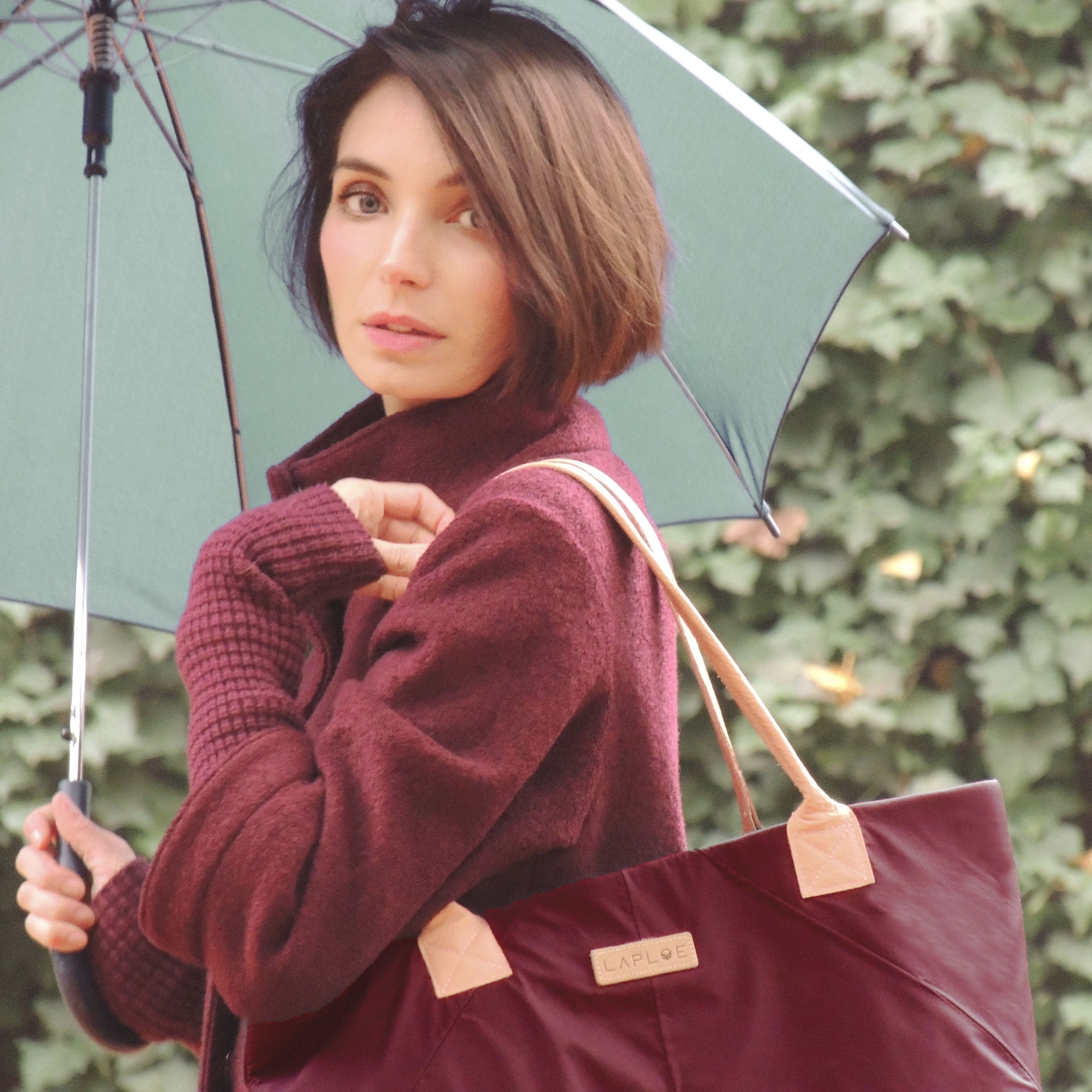 Marsala totebag made with ditched umbrellas