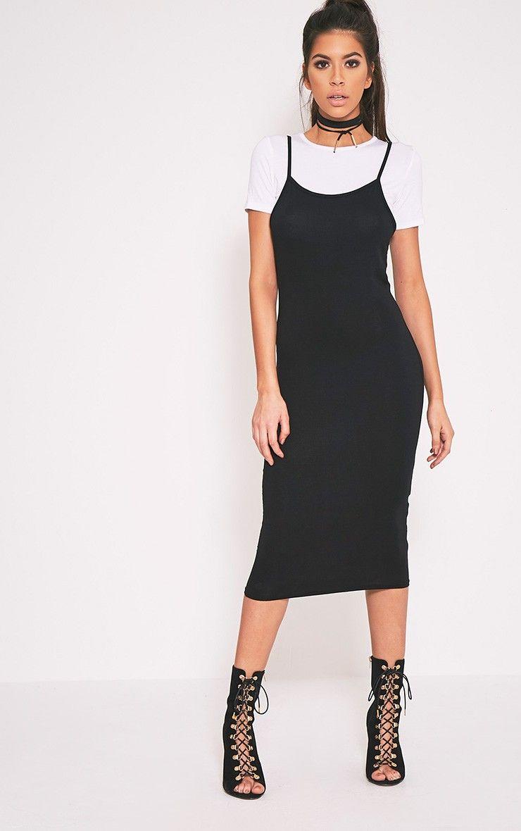 Black t shirt jersey dress - 2 Pack Basic Black T Shirt And Midi Dress Image 1