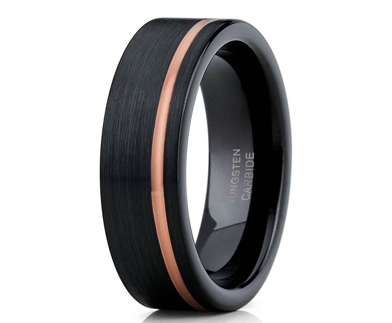 Black Tungsten Wedding Band Engagement Ring Men Women Etsy Gold Tungsten Wedding Bands Black Tungsten Wedding Band Black Tungsten Rings