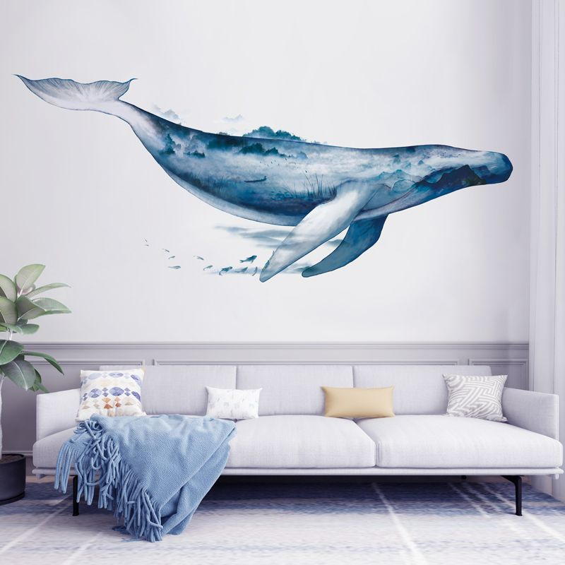 Blue Whale Ocean Wall Sticker Whale Wall Decals Nursery Wall