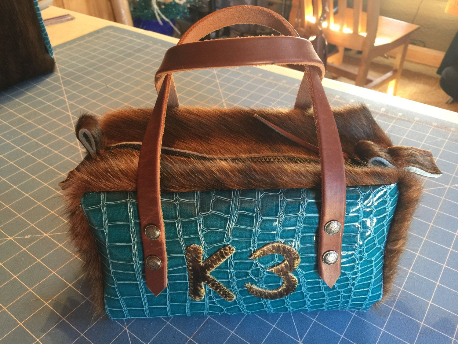 Cowhide and Leather Shaving or Makeup Bag Leather