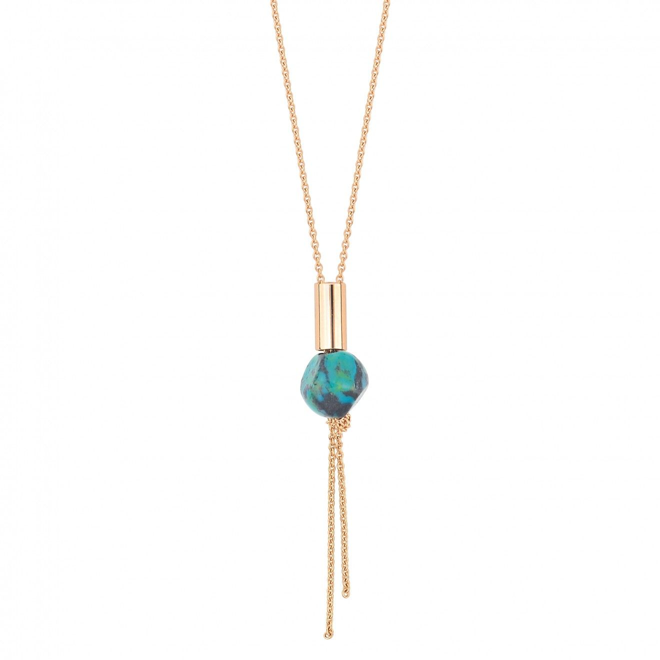 Ginette NY Ever Turquoise Disc 18-karat rose gold necklace