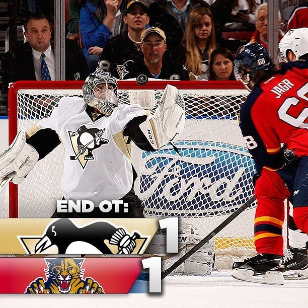 End OT: Even OT couldn't decide this one... To the Shootout we Go! #PITvsFLA #LetsGoPens