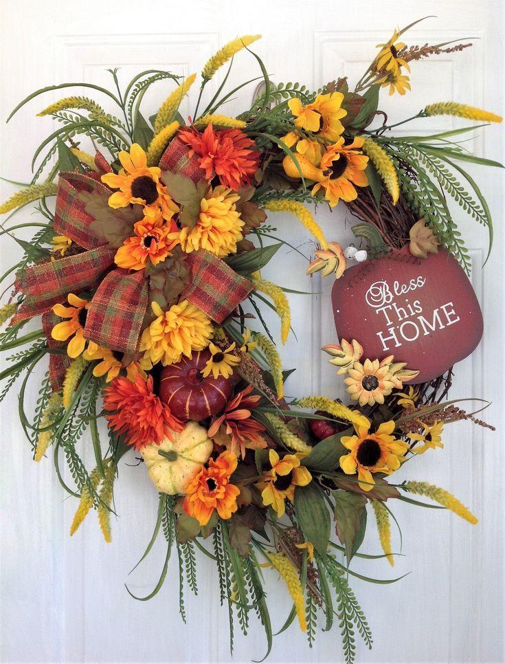 Fall Wreath For Front Door, Autumn Wreath, Fall Door Wreath, Fall Door Decoration, Autumn Wreath, Autumn Door Decor, Thanksgiving Wreath