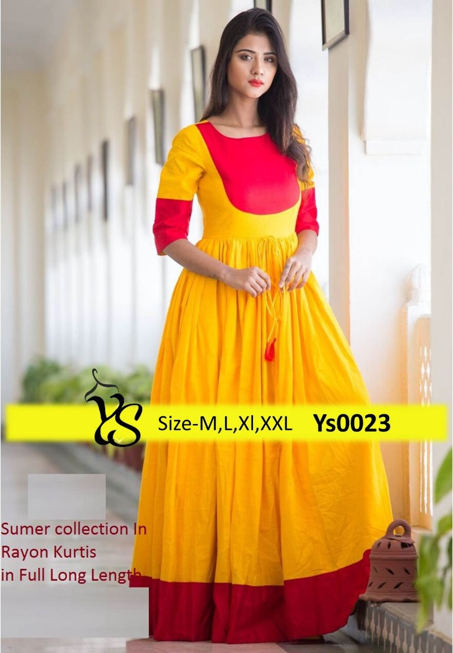 41663c26d669 Rayon # yellow #red color #long #anklelength #anarkali with full #flair  kurta or frock. Size- S,M,L,XL,XXL whats up -Call-9660309868