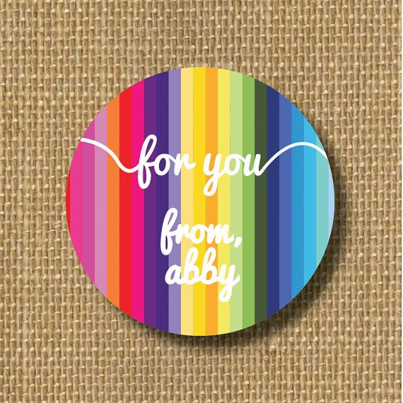 rainbow label personalized gift sticker custom gift tag