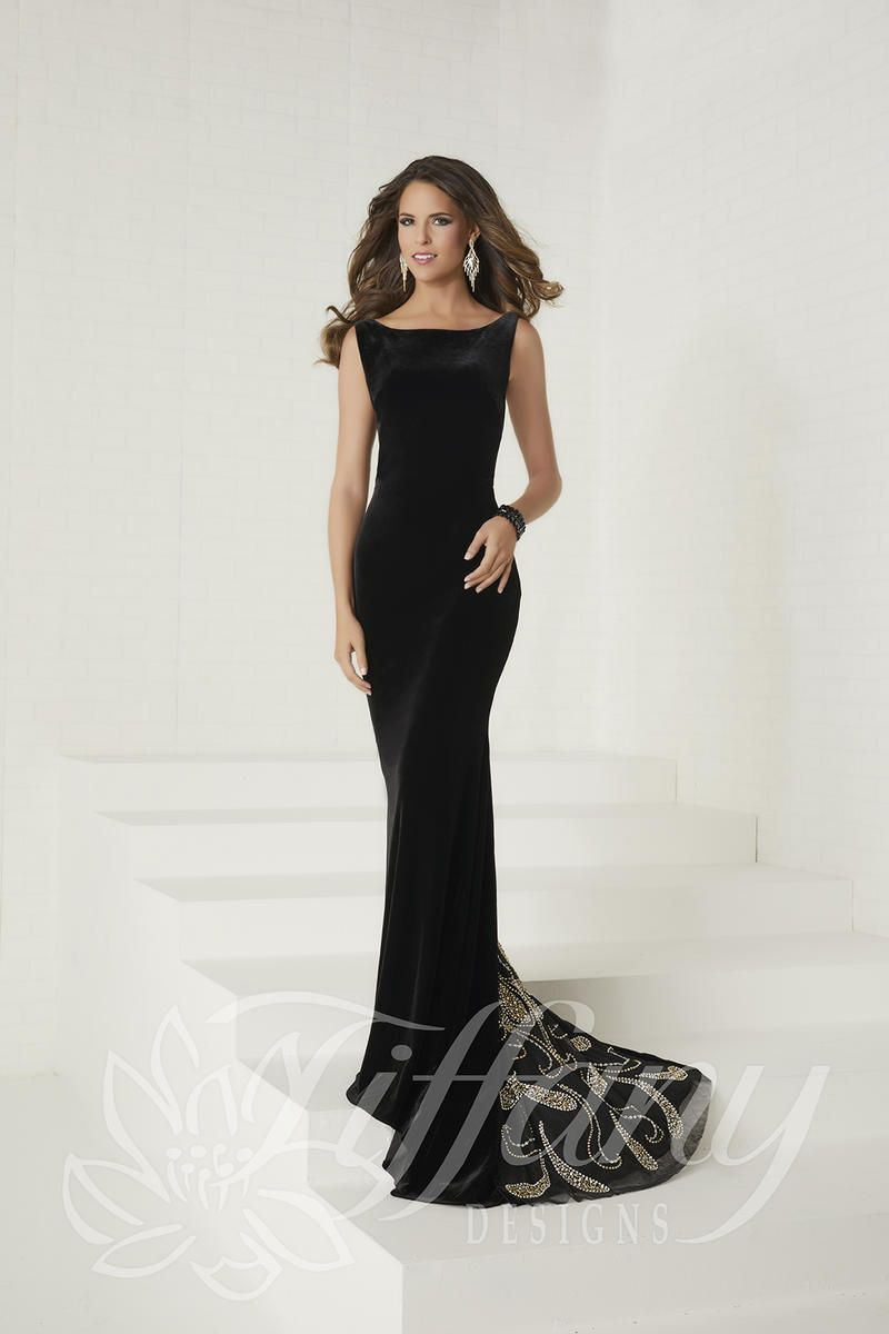 Tiffany designs velvet beaded prom dress evening gowns