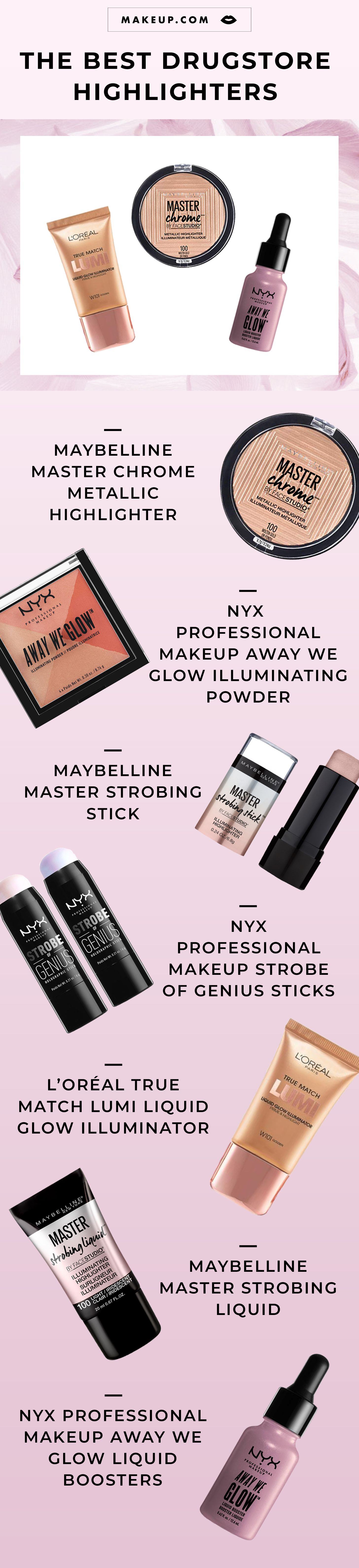 The Best Drugstore Highlighters Makeup Com By L Oréal Drugstore Highlighter Beauty Products Drugstore Maybelline Master Strobing Stick