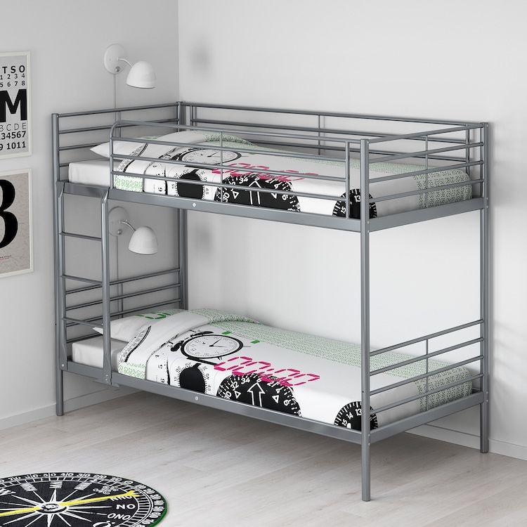 Svarta Bunk Bed Frame Silver Colour 90x200 Cm Ikea In 2021 Ikea Metal Bunk Bed Metal Bunk Beds Bunk Beds For Sale