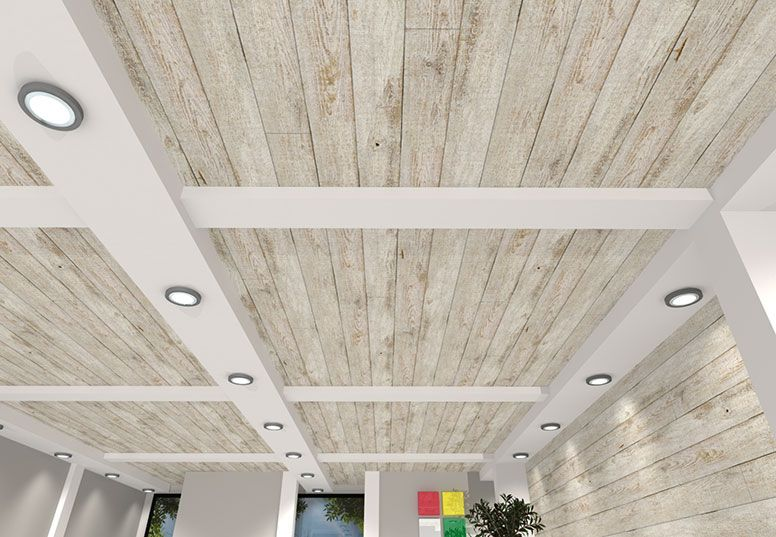 White barn wood ceiling panels see more designs at for Wood ceiling kitchen ideas