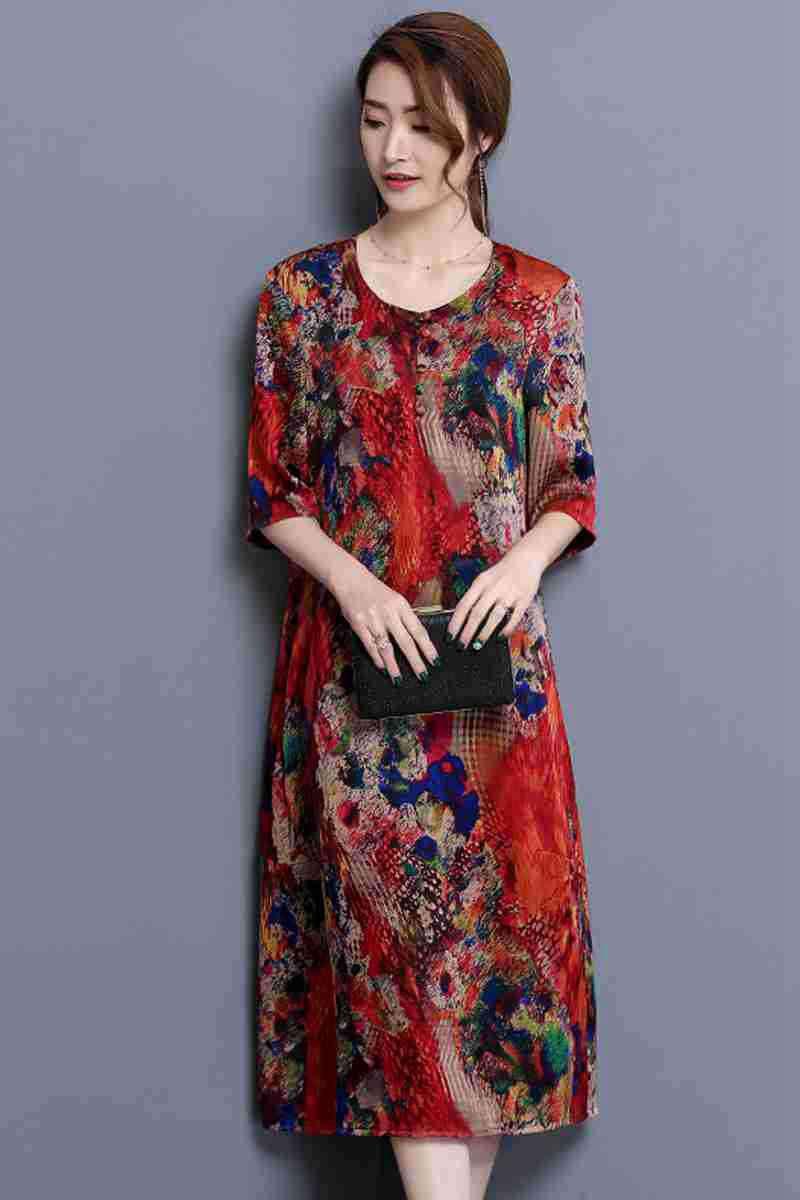 34a73dfa6b948 Elegant Imitate Real Silk Dresses 2019 New Summer Vintage A-line ...