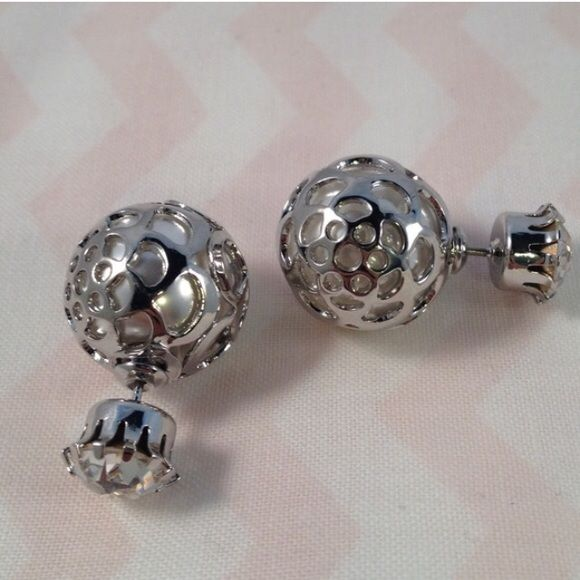 Pearl Front to Back Peekaboo Earrings Big pearl with a Silver Floral Overlay with a diamond stud on the other side. Cubic Zirconia stubs on one side. Silver tone only. Pearl is about a size of a dime. Jewelry Earrings