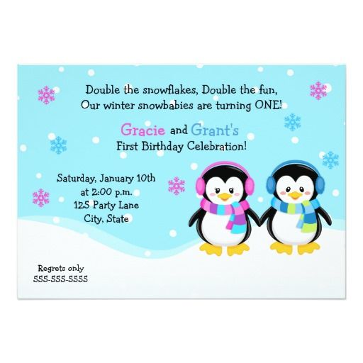 penguin twins birthday invitation boygirl invitation