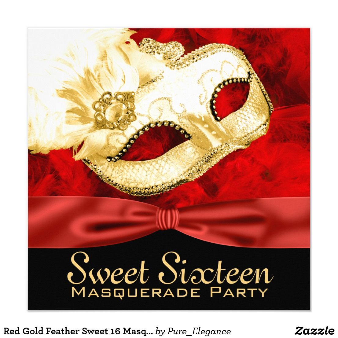 Red Gold Feather Sweet 16 Masquerade Party Card | Masquerade party ...