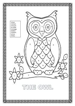 Fun Interactive Color By Number The Owl Coloring Page Is