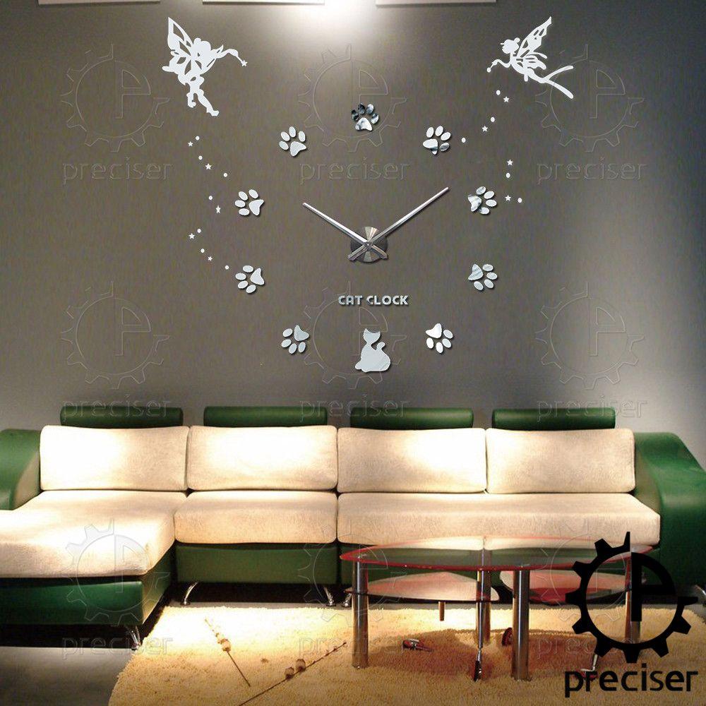 Angel Wings Princess Cat Claw 3D Wall Clock Modern Large Self Adhensive Wall  Clock Quartz