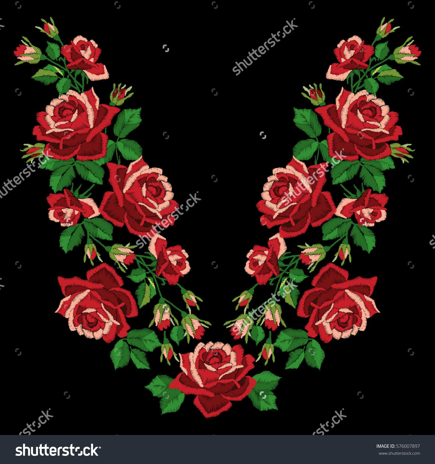 Red roses embroidery with leaves and buds. Ethnic flowers neck line, flower design, graphics fashion wearing. Embroidery for t-shirt. Satin stitch imitation, vector.