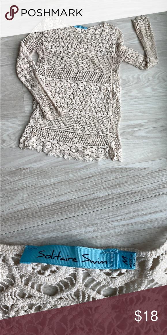 Cream crochet long sleeve top size M