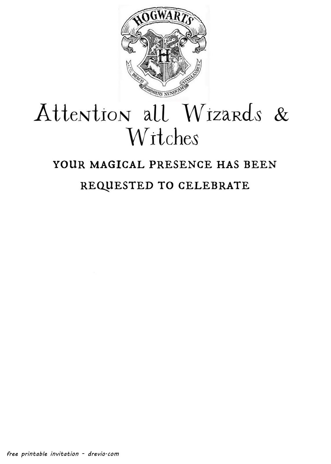 Free Printable Harry Potter Hogwarts Invitation Template Harry