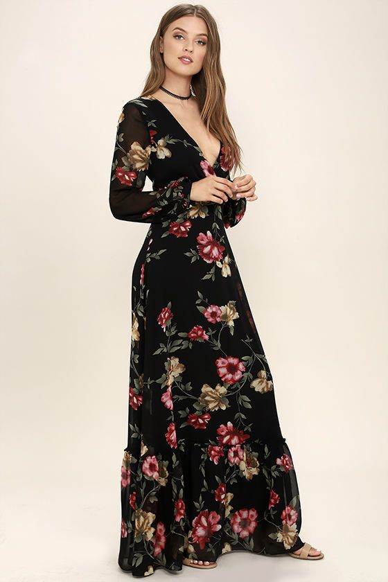a40c6a8e493 Exclusive print, only at Lulus! The Chateau de Versailles Black Floral  Print Maxi Dress fits right in at the most elegant of occasions! A lovely  pink ...