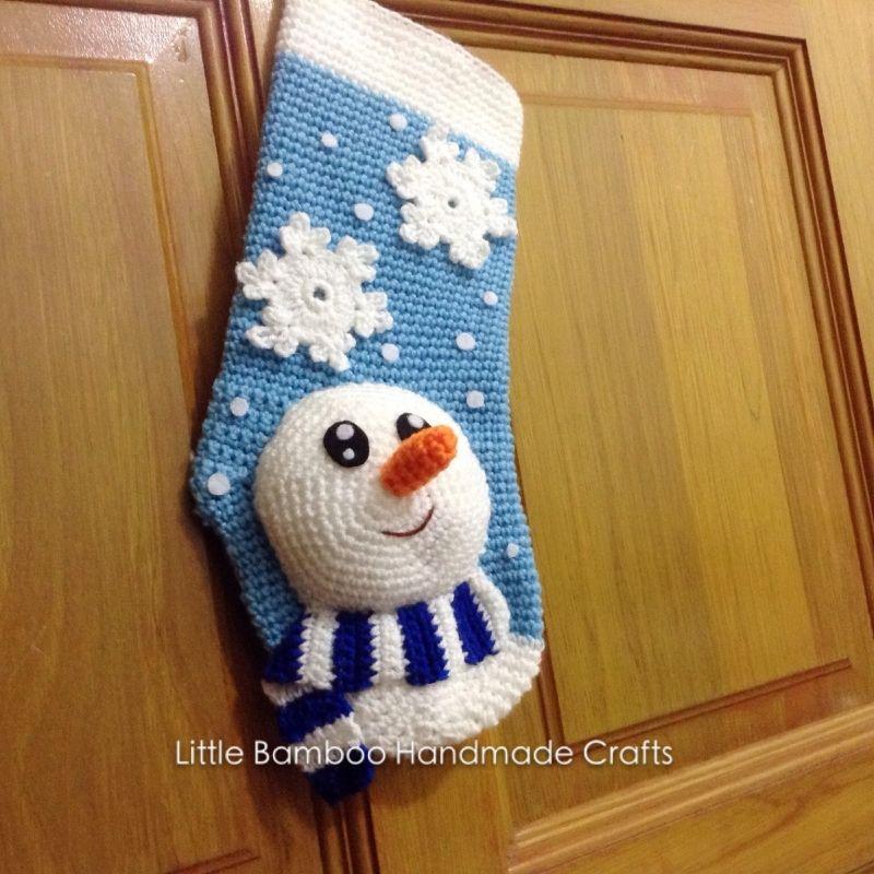 Snowman Christmas Stocking crochet pattern by Little Bamboo Handmade ...