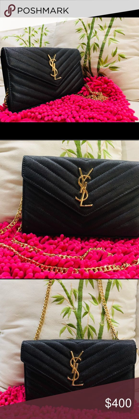 Ysl Envelop sling bag Heavy chain gold color Refurbished bag from Japan and  Ysl Envelop sling bag Heavy chain gold color Refurbished bag from Japan and