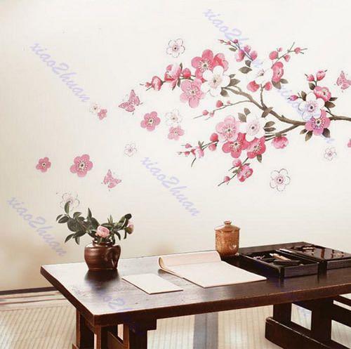Peach Blossom Butterfly Removable Wall Vinyl Decal Art DIY Home Wall Sticker Hot | eBay