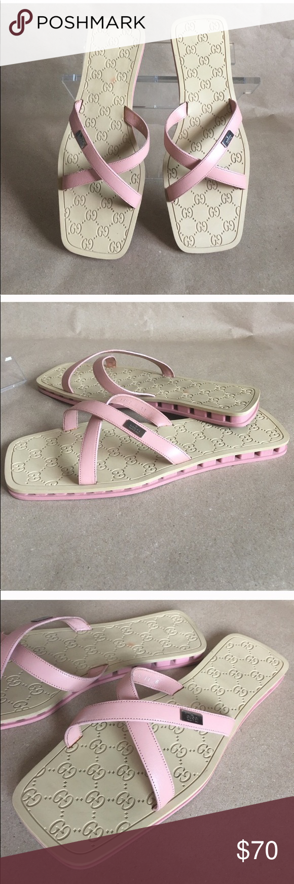 1dbf97a15282 Gucci slides Vintage Gucci pink slides. I bought them on Poshmark but they  are too big. They are a true 11 Gucci Shoes Flats   Loafers