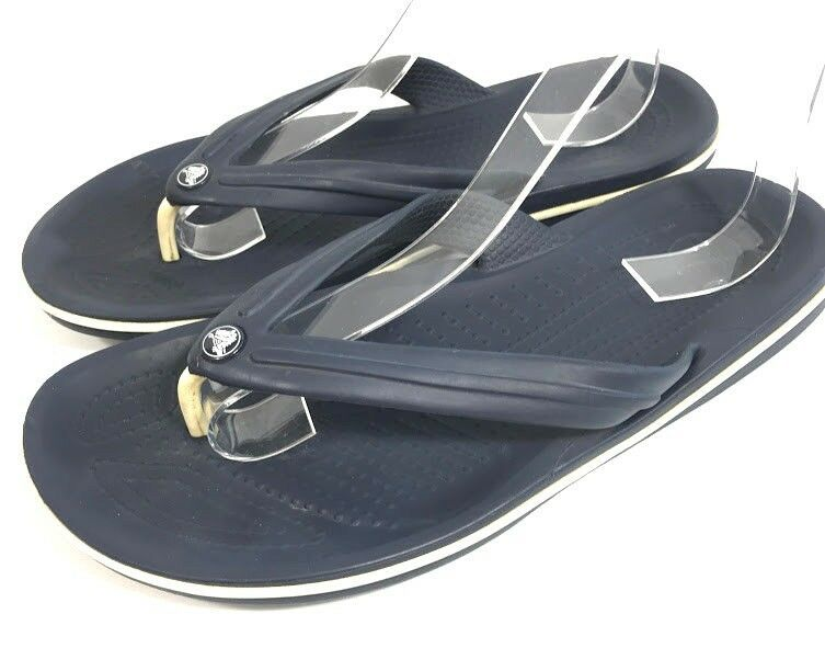 5cae588eb48a Crocs Mens Sandals Flip Flops Navy Blue Size 7 M7 Rubber Waterproof Beach  Casual  Crocs  FlipFlops