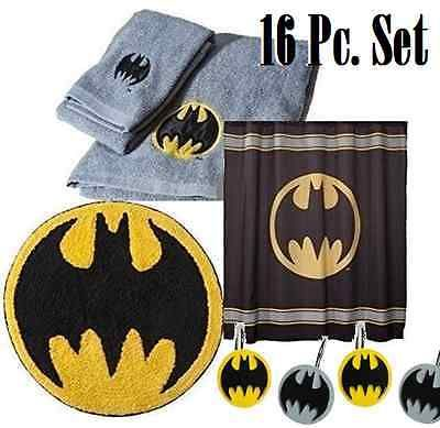 Batman Bathroom Shower Curtain, Hooks, Bat Signal Towels, Bath Rug Mat  Decor Set