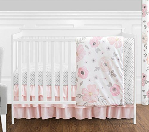 4 Pc Blush Pink Grey And White Watercolor Floral Baby Girl Crib