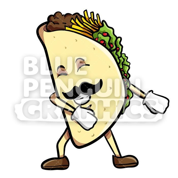 Taco Floss Dance Vector Cartoon Clipart Illustration — Blue Penguin Graphics a059de4ae6810