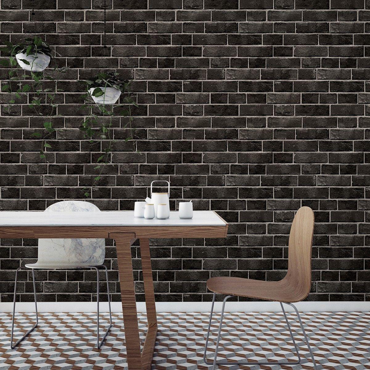 Brick Ebony Brick Temporary Wallpaper Removable Brick Wallpaper Brick Wallpaper
