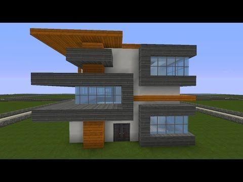 Minecraft Modernes Haus Weiss Grau Bauen Tutorial Anleitung