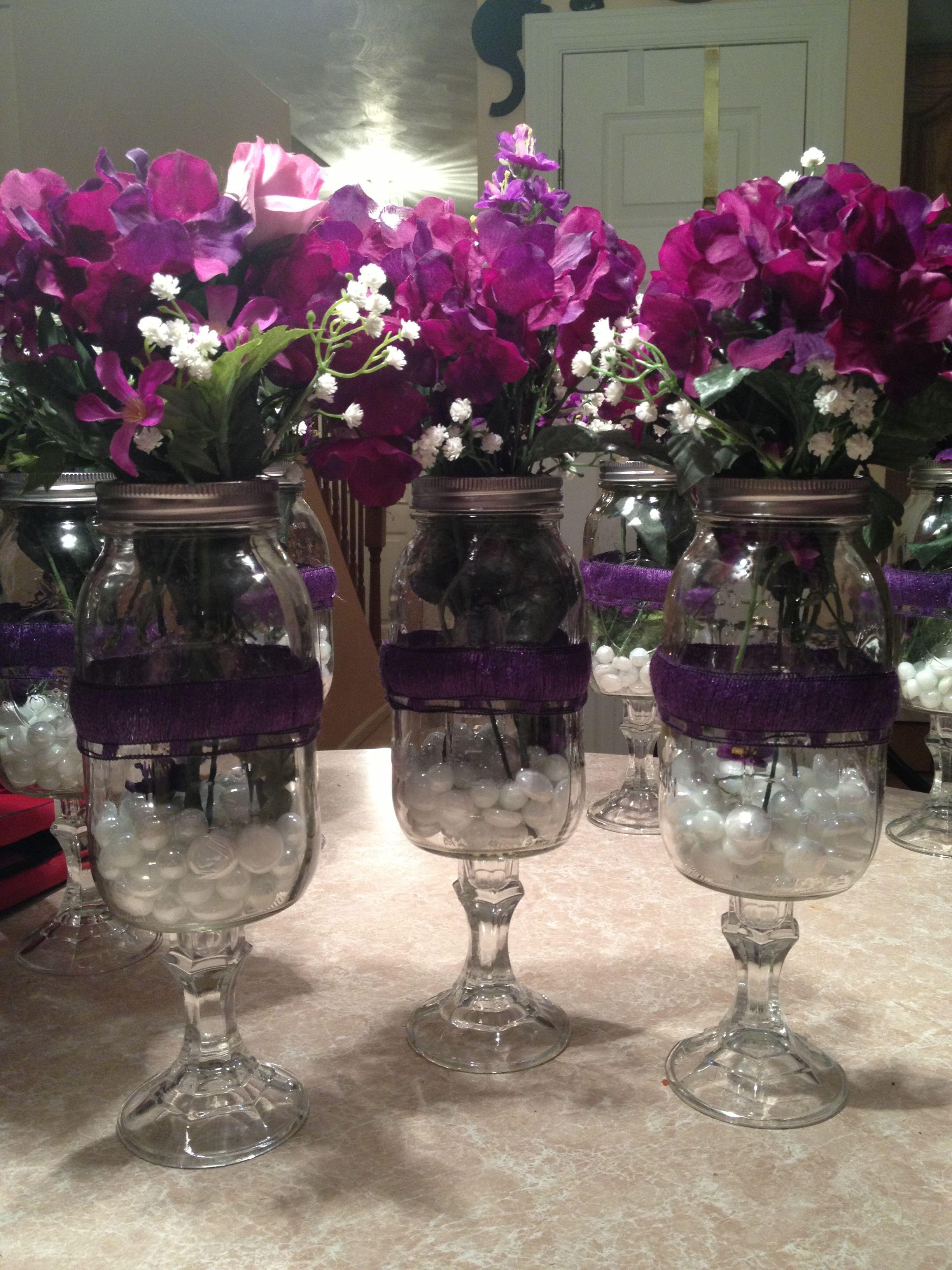Quot Redneck Wine Glass Quot Flower Vases Centerpieces For My Cousin S Bridal Shower Use E6000 Glue
