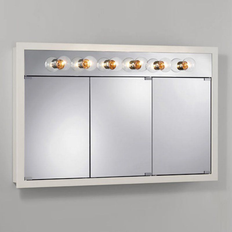 Jensen Medicine Cabinet Granville Tri-View 6-Light 48W x ...